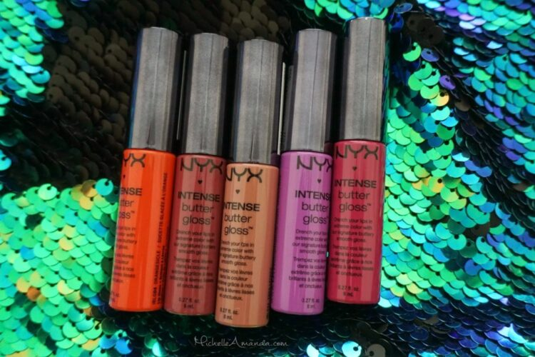 Swatched: NYX Intense Butter Gloss in Tres Leches, Toasted Marshmallow, Spice Cake, Orangesicle, and Berry Strudel